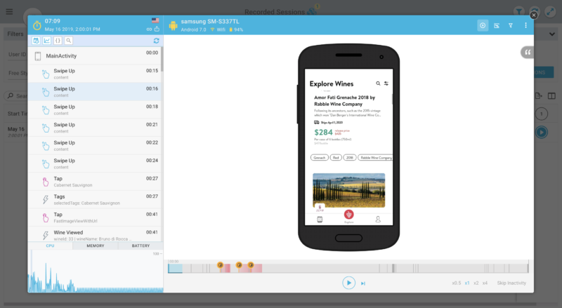 example of mobile session replay tools from Glassbox/Mobilebox